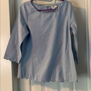 Vineyard Vines Oxford Scalloped Top size 6